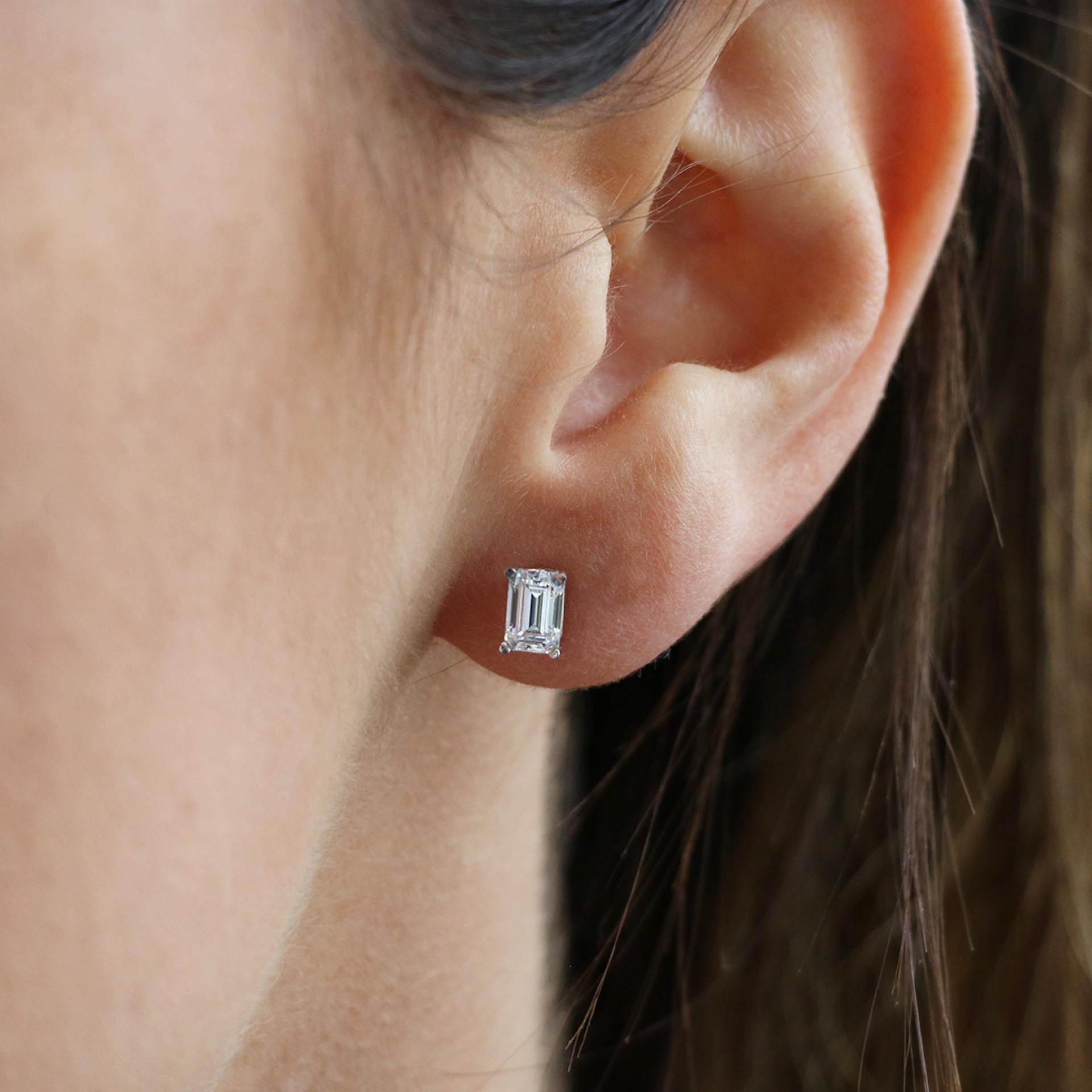 0.66 Carat Emerald Cut Stud Earrings Basket Set - 14k Yellow Gold. 1 c011b1da8