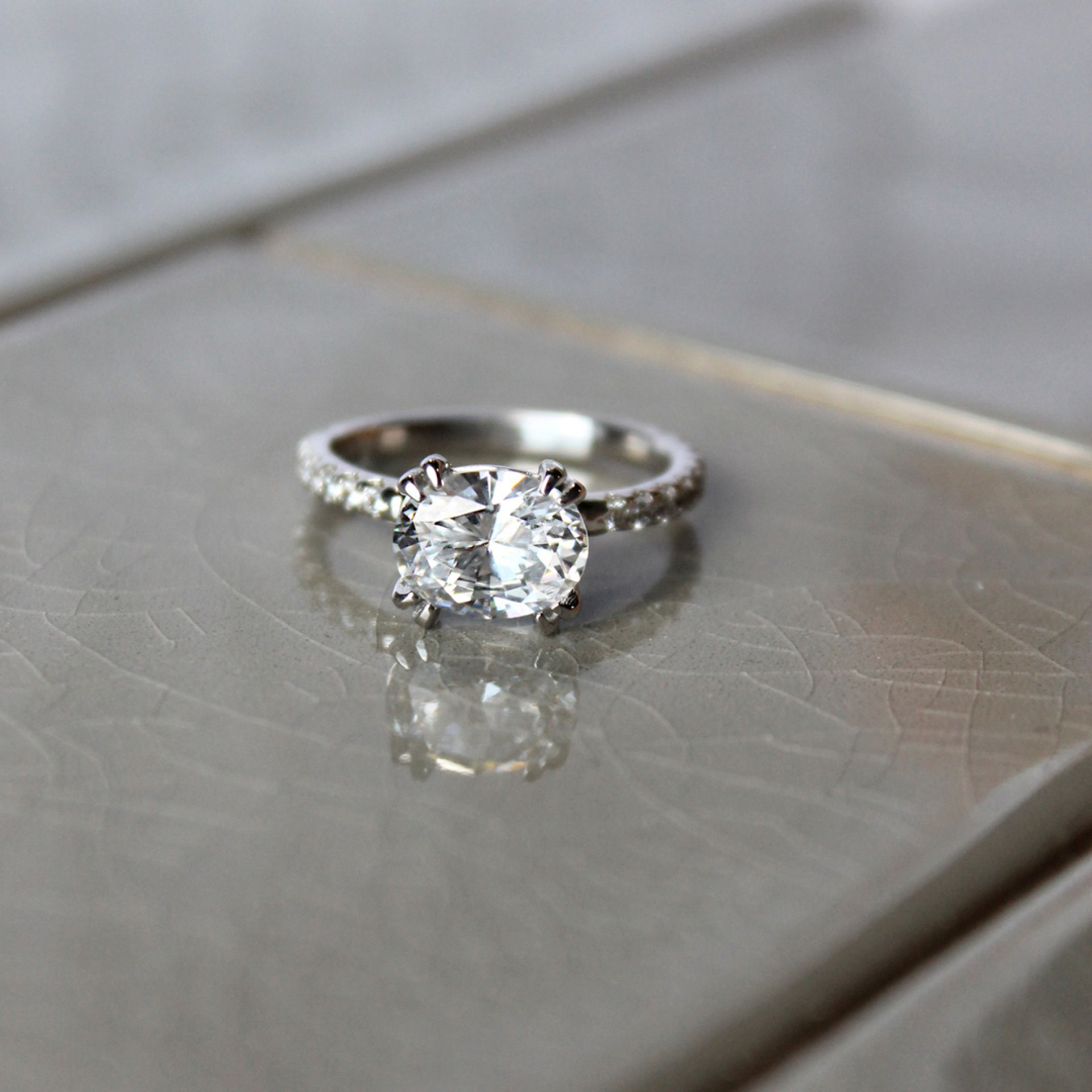 East West Accented Oval Cut Engagement Ring