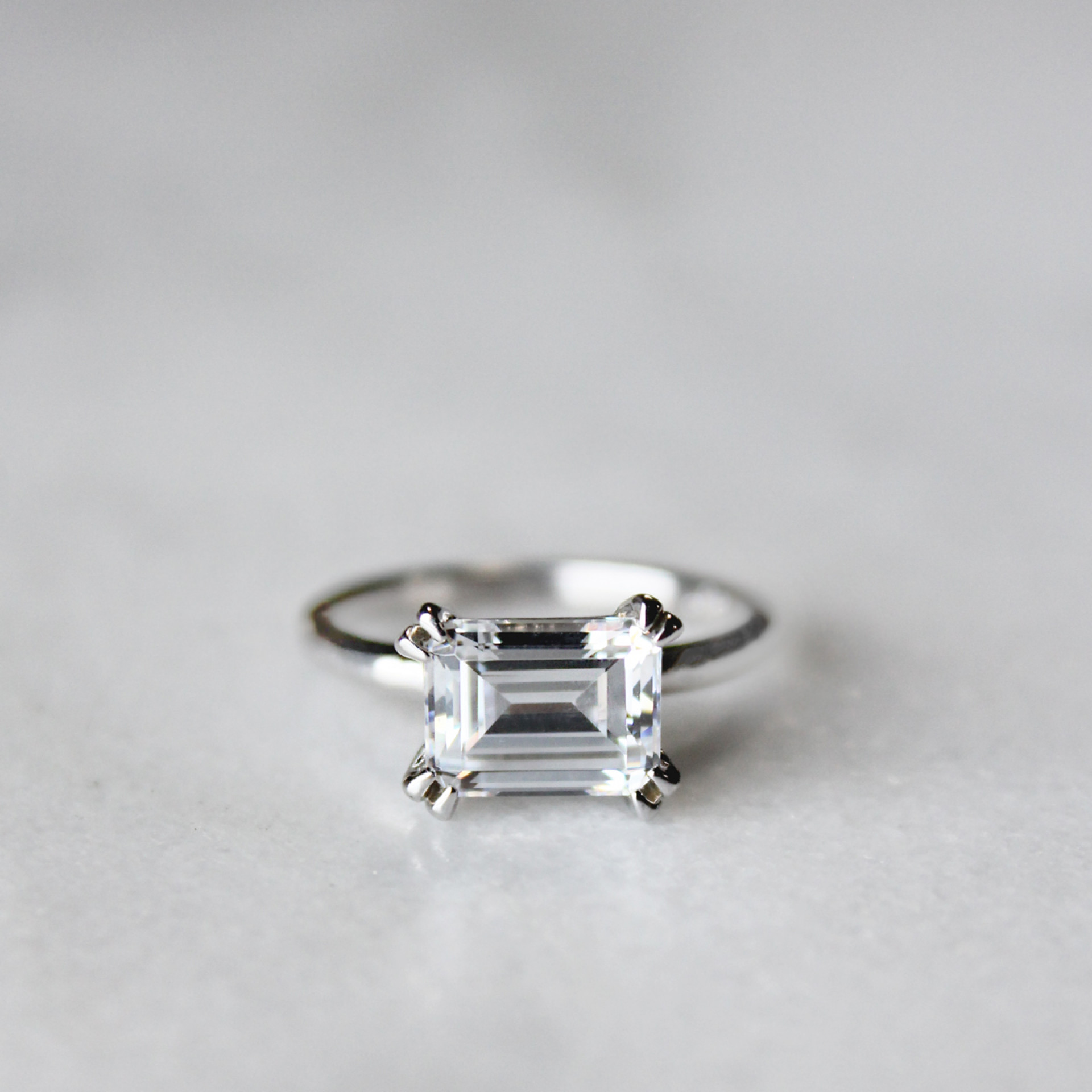 east west classic emerald cut engagement ring engagement. Black Bedroom Furniture Sets. Home Design Ideas