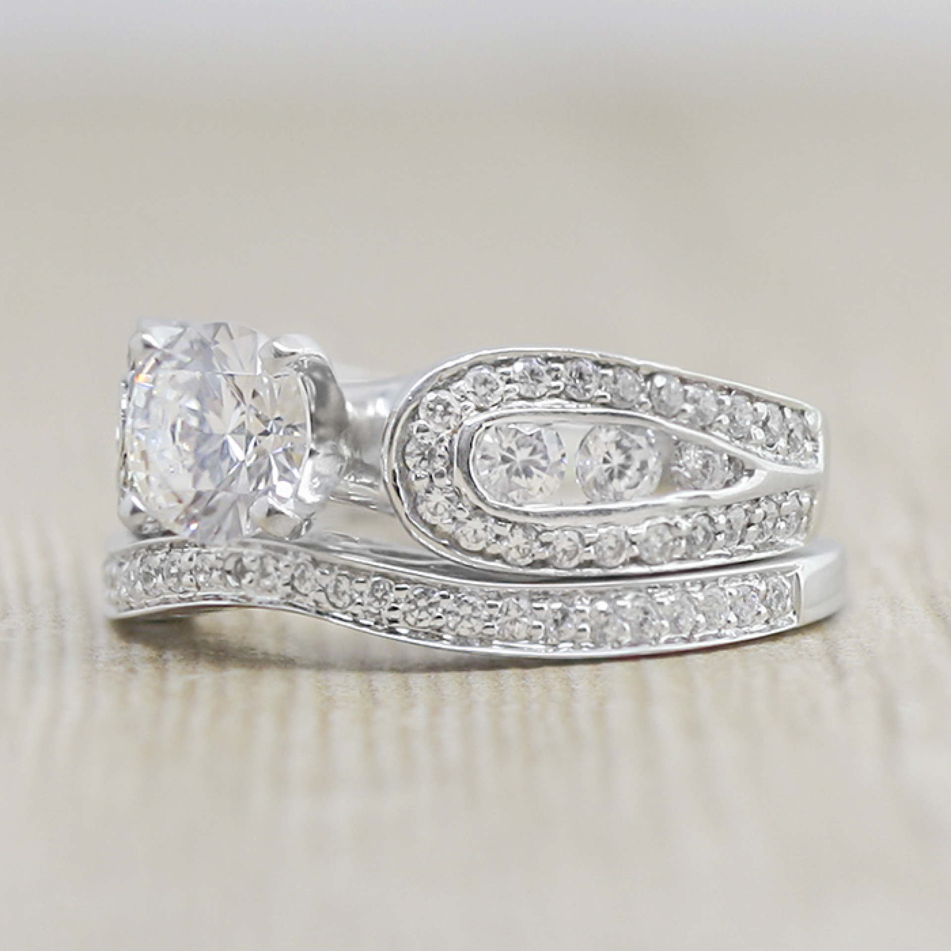 7623a76c2 Ingrid with 1.03 carat Round Brilliant Center and Matching Band - 14k White  Gold - Ring Size 7.0-8.0