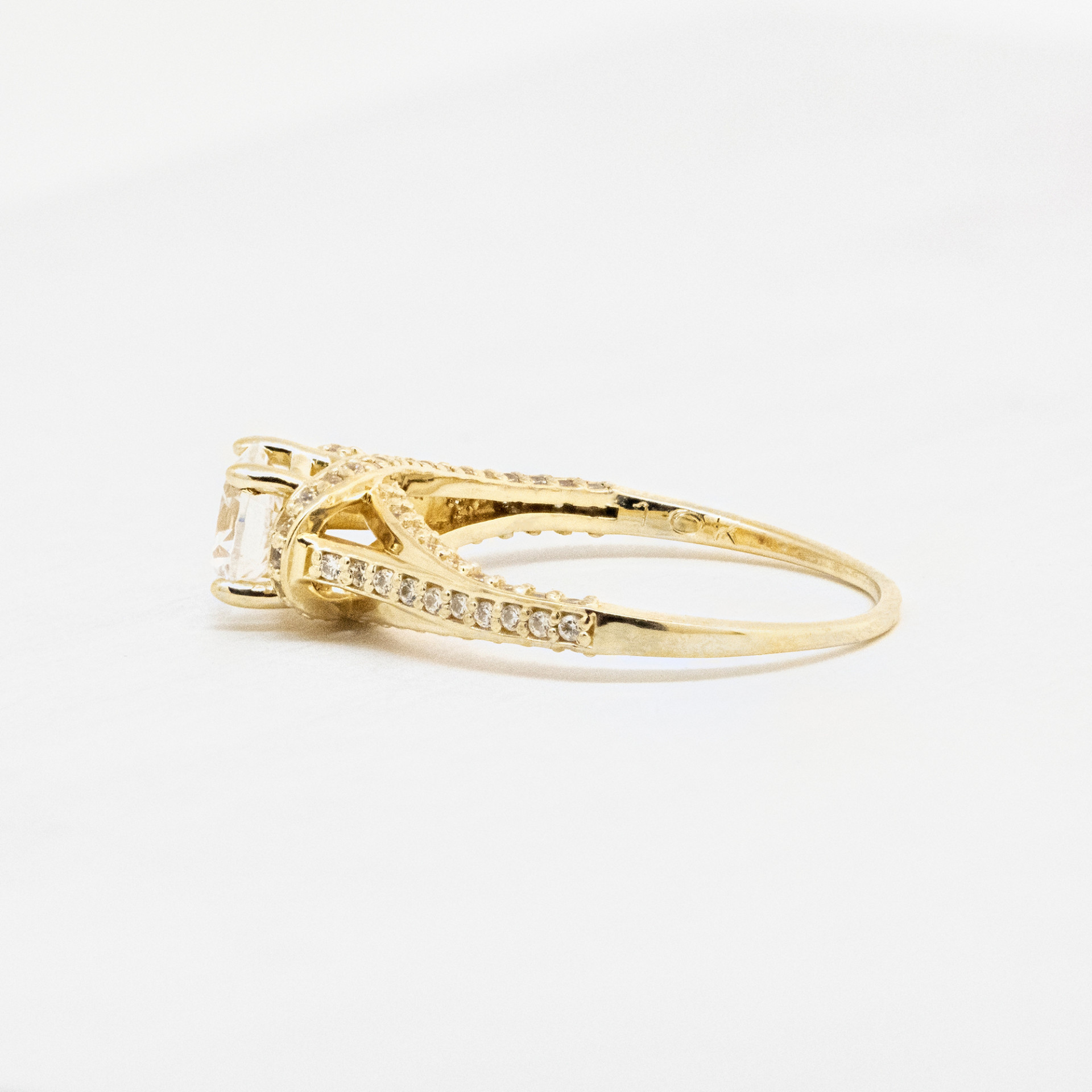 4634a7d1ea1df Discontinued Jessica with 0.84 carat Round Brilliant Center - 10k Yellow  Gold - Ring Size 5.00
