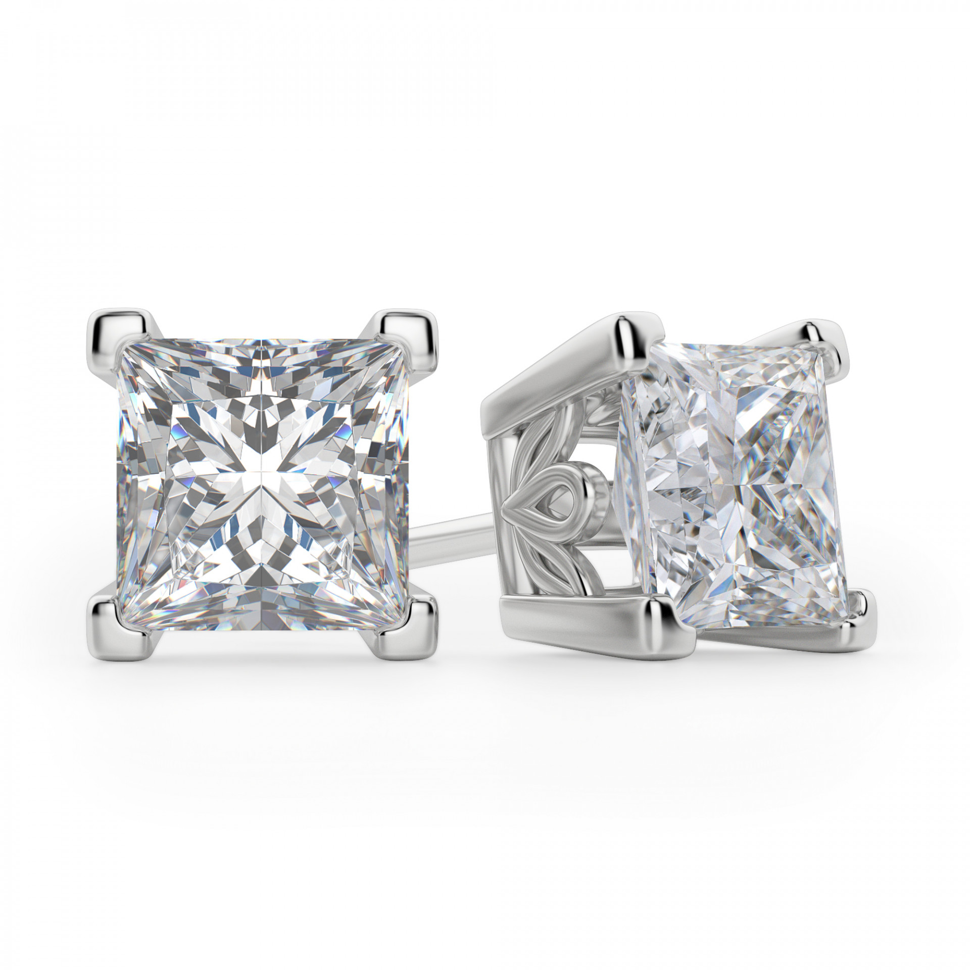 5c72f04339f23 Princess Cut Stud Earrings, Tension Back, Filigree Set