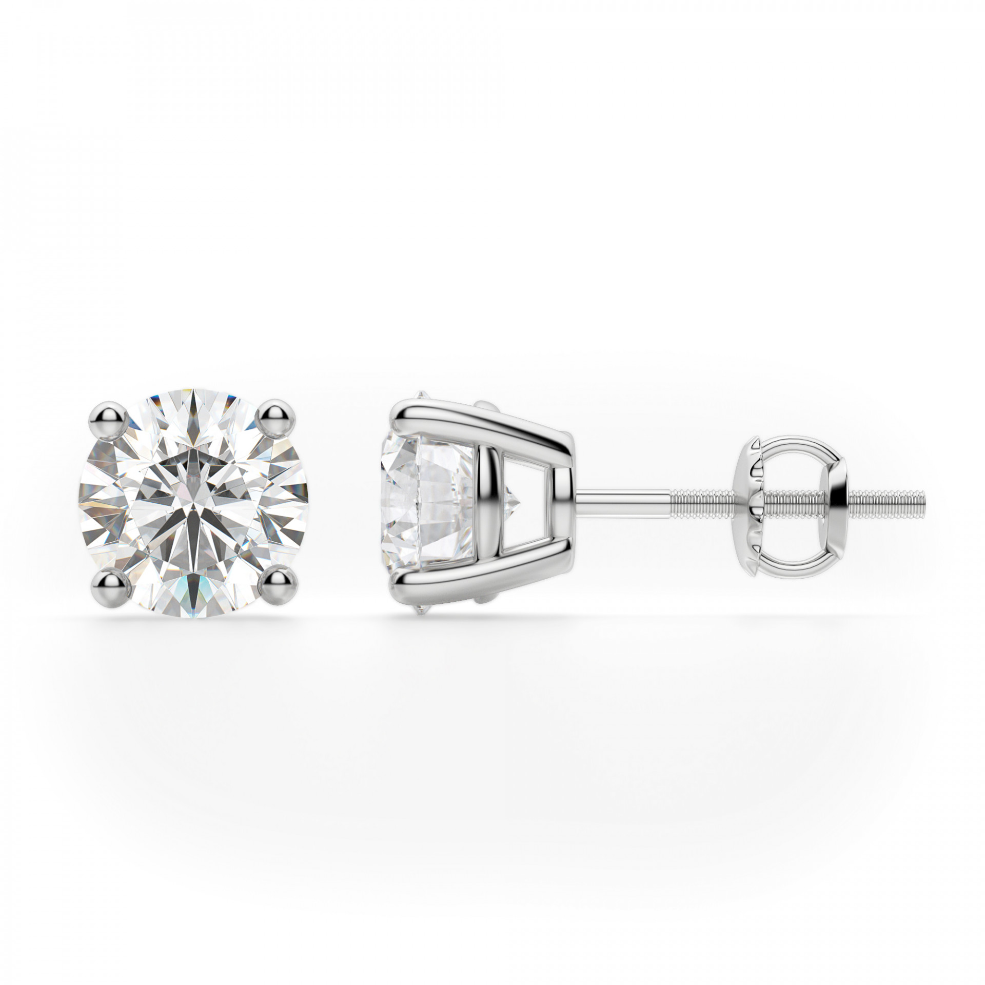 ef1f74513 Earrings | Classic/Stud | Round Cut Stud Earrings, Screw Back ...