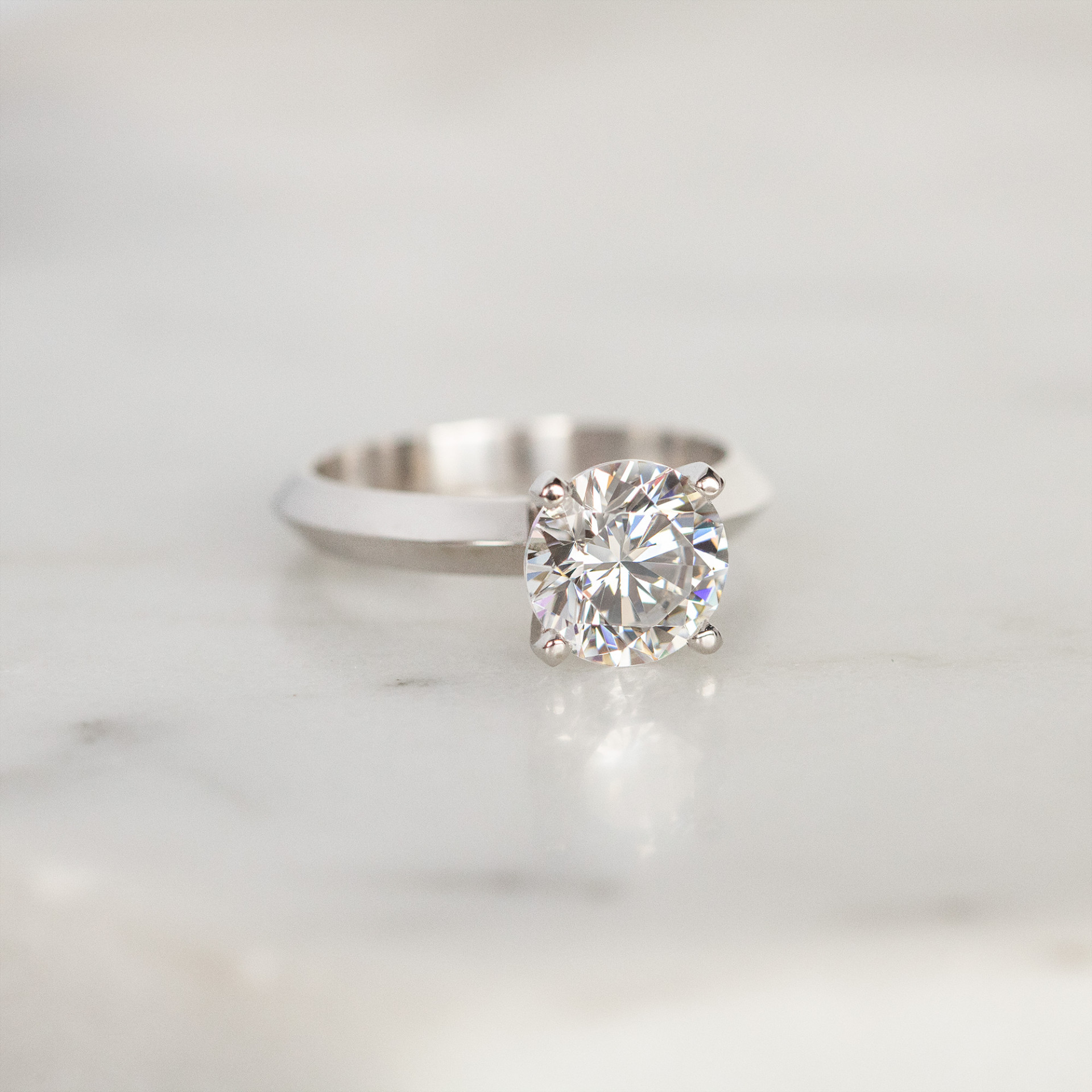 Engagement Rings Solitare Tiffany Style Knife Edge 4 Prong