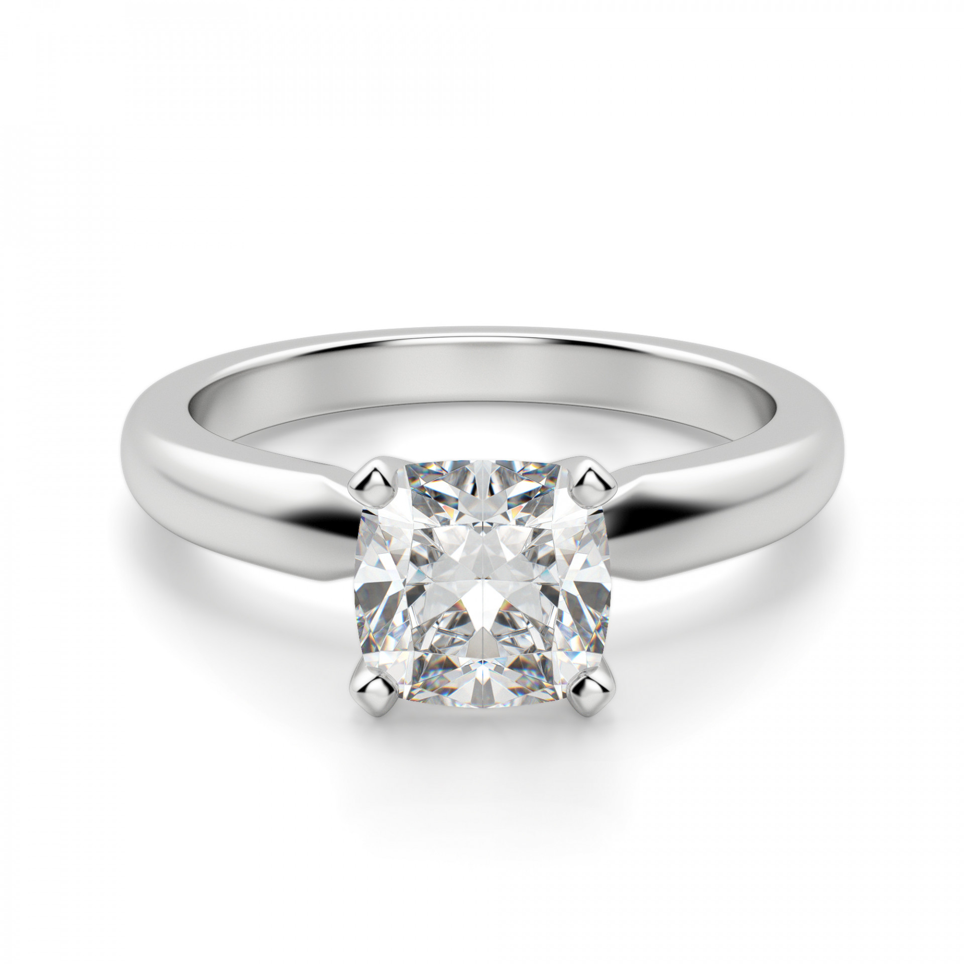 Tiffany Style Solitaire Cushion Cut Engagement Ring
