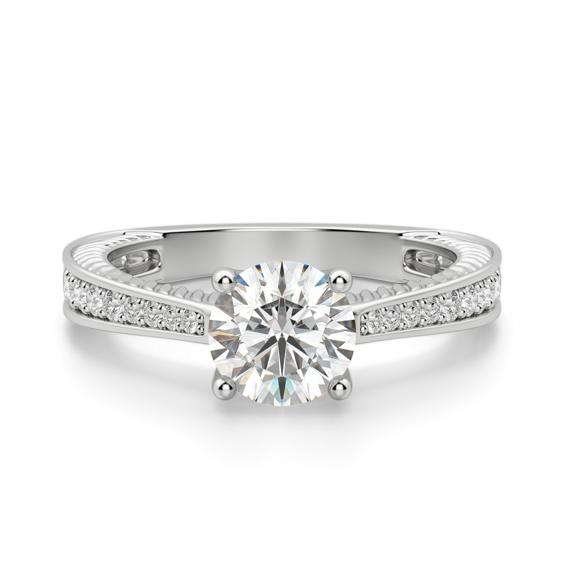 Engagement Rings Round Cut: Sage Accented Round Cut Engagement Ring
