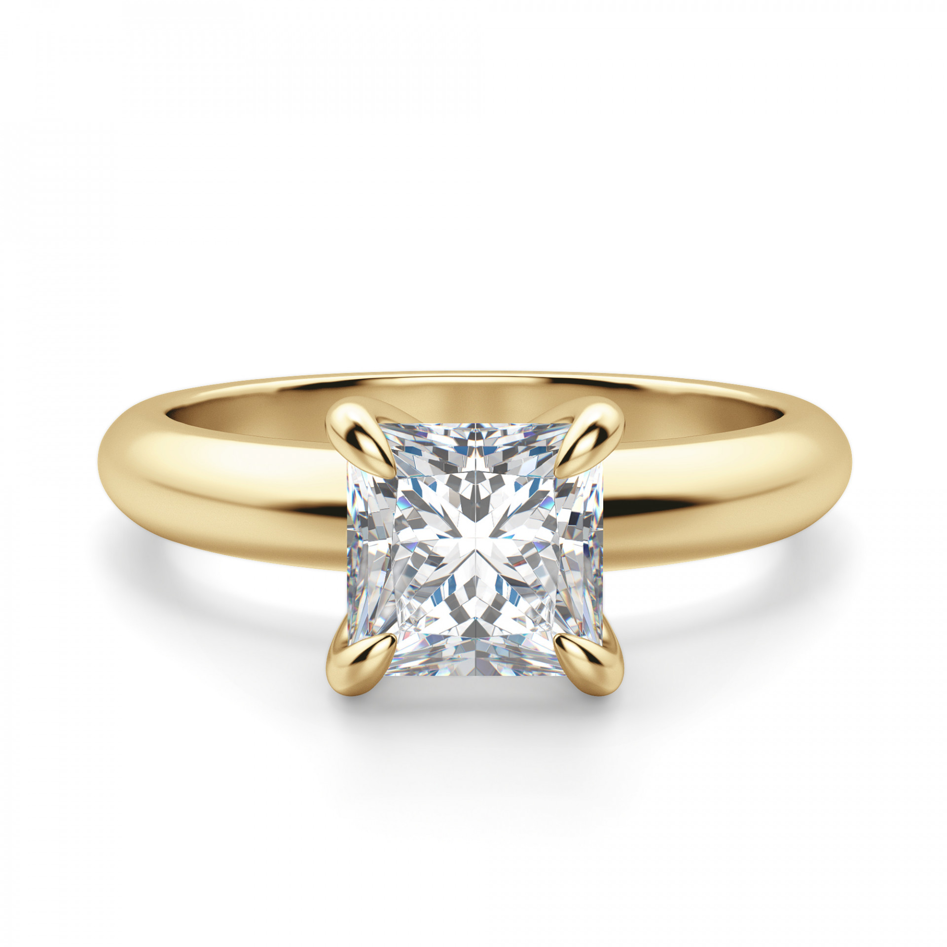 Claw Prong Princess Cut Solitaire Engagement Ring