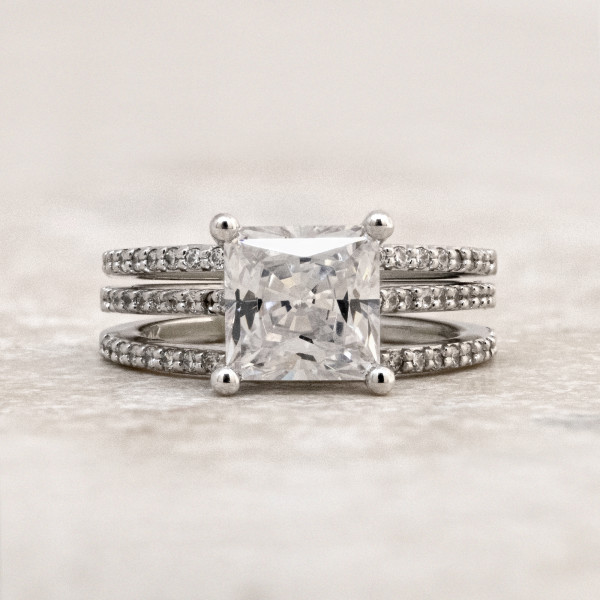 Custom Accented Ring with Two Matching Bands with 2.01 Carat Princess Center - 14k White Gold - Ring Size 4.5
