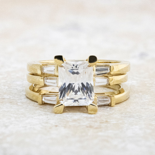 Endless Days with 2.62 carat Radiant Center and Two Matching Bands - 14k Yellow Gold - Ring Size 7.5-8.0
