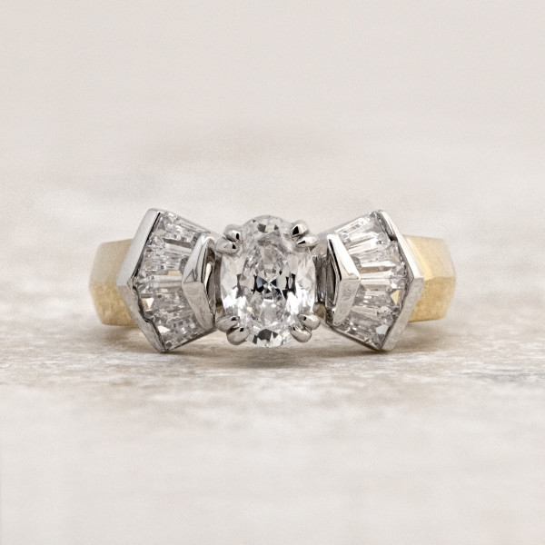 Discontinued London with 0.76 carat Oval Center - 14k Yellow and White Gold - Ring Size 4.75-5.75