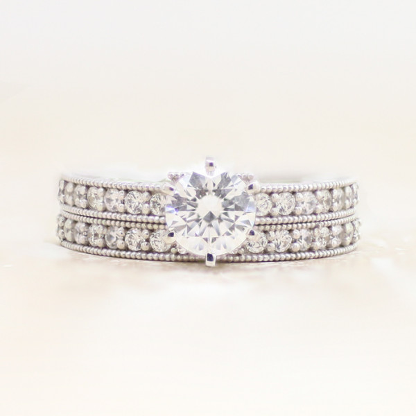 Discontinued Jana with 1.03 carat Round Brilliant Center and One Matching Band - 14k White Gold - Ring Size 7.0