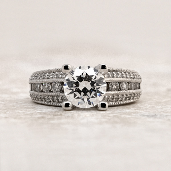 Custom Milgraine Ring with 2.04 carat Round Brilliant Center - 14k White Gold - Ring Size 5.25