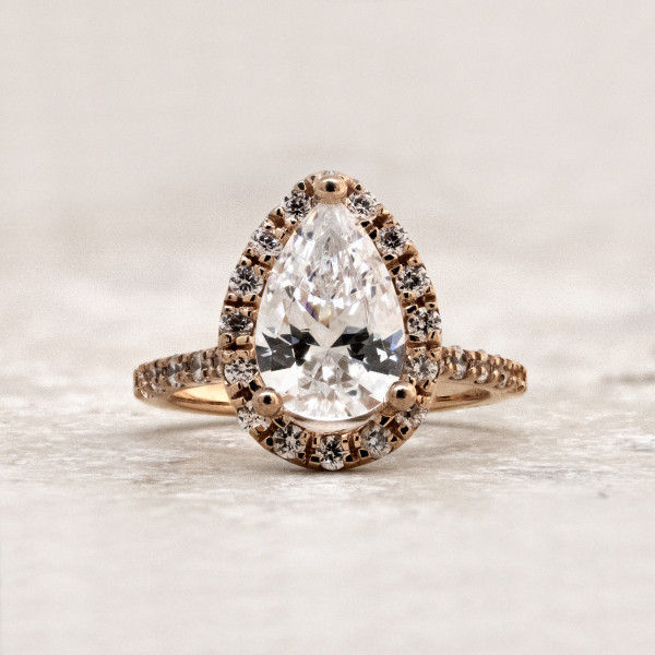 Madrid Accented with 2.25 carat Pear Center - 14k Rose Gold - Ring Size 5.5