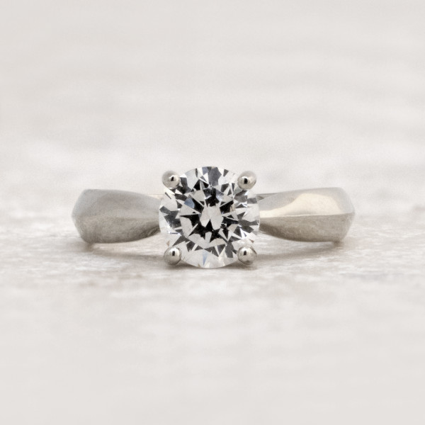 Knife-Edge Solitaire with 1.49 carat Round Brilliant Center - 14k White Gold - Ring Size 7.0