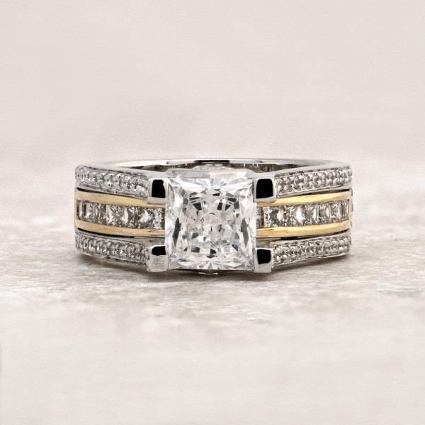Discontinued Caroline with 0.99 carat Princess Center - 14k White & Yellow Gold - Ring Size 6.0-7.0