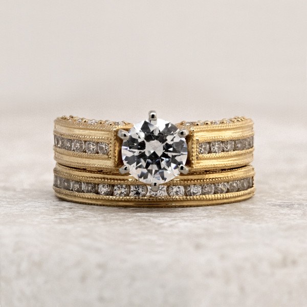 Custom Milgrained Ring with 2.04 Carat Center and One Matching Band - 14k Yellow Gold - Ring Size 8.75