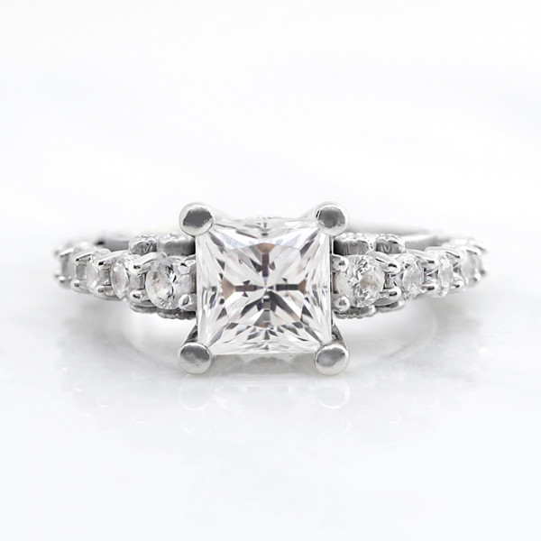 Discontinued Pompeii with 2.40 carat Princess Center - 14k White Gold - Ring 9.25