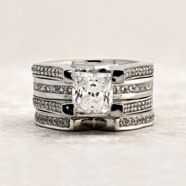 Discontinued Caroline with 1.59 carat Princess Center and One Matching Band - Palladium - Ring Size 4.0