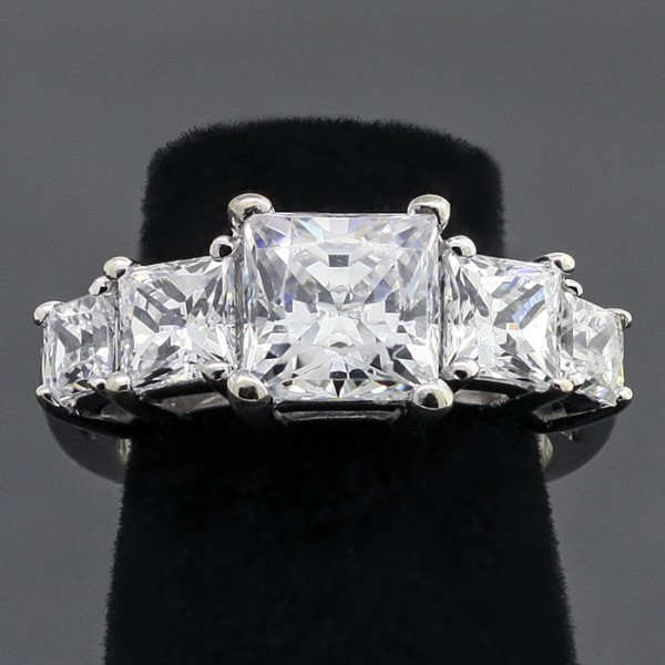 Five Stone Ring with 1.96 Princess cut Center - 14k White Gold - Ring Size 6.0