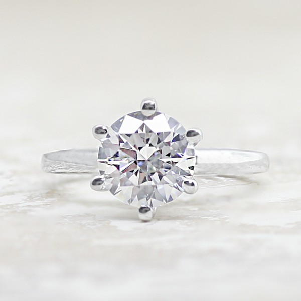 Tiffany-Style 6-Prong Solitaire with 2.04 carat Round Brilliant Center - 14k White Gold - Ring Size 4.0-8.75