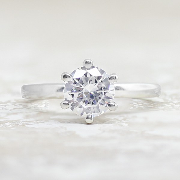 Tiffany-Style 6-Prong Solitaire with 1.03 carat Round Brilliant Center - 14k White Gold - Ring Size 4.0-9.5