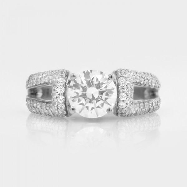 La Boheme with 2.04 carat Round Brilliant Center - 14k White Gold - Ring Size 5.25