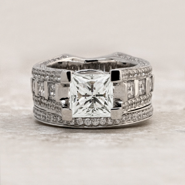 Discontinued Myra with 2.01 carat Princess Center and One Matching Band - 14k White Gold - Ring Size 5.0