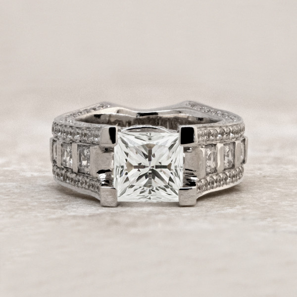 Discontinued Myra with 2.01 carat Princess Center - 14k White Gold - Ring Size 7.0