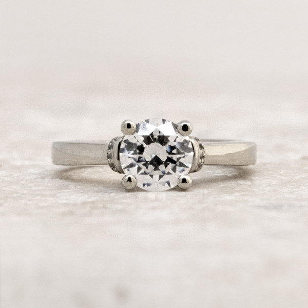 Collar Accented Ring with 1.67 Round Brilliant Center - 14k White Gold - Ring Size 6.5-8.0