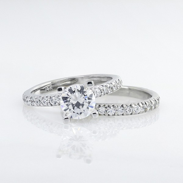 Retired Model Gwyneth with 2.04 carat Round Brilliant Center and One Matching Band - 14k White Gold - Ring Size 5.25-8.25