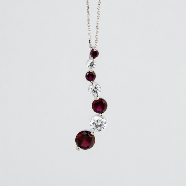 Emotions Pendant with Ruby Accents, 2.62 Tcw - 14k White Gold