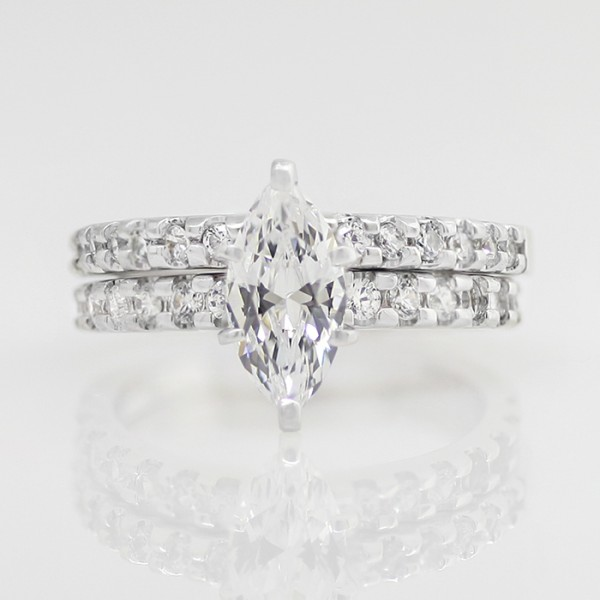 Blythe with 1.03 Carat Marquise Center with One Matching Band - 10k White Gold - Ring Size 7.75-9.75