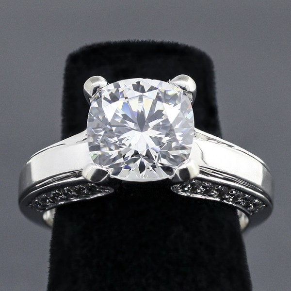 Accented Solitaire with 2.75 Cushion cut Center - 14k White Gold - Ring Size 7.75