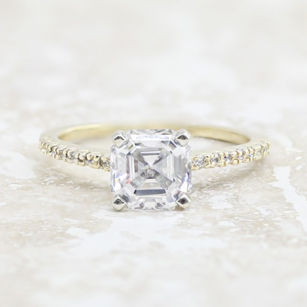 Angelix with 2.40 carat Asscher Center - 14k Yellow Gold - Ring Size 7.0-9.25