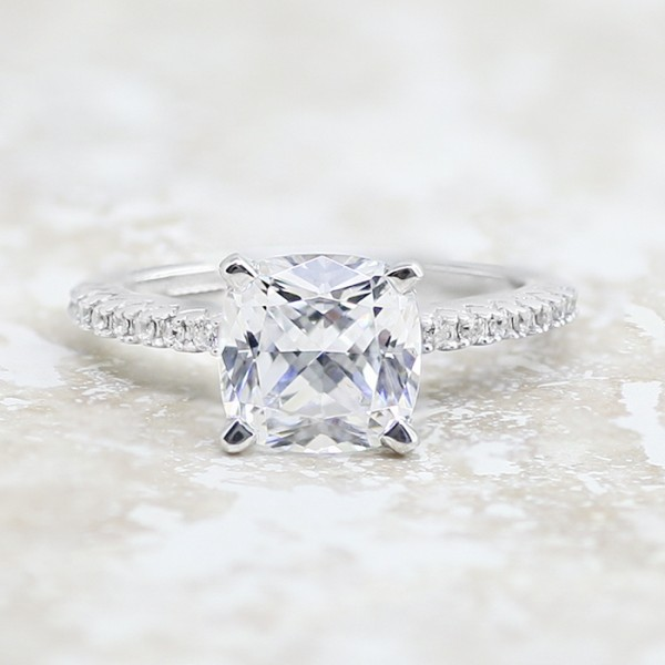 Angelix with 2.04 carat Cushion Cut Center - 14K White Gold - Ring Size 4.0-7.0