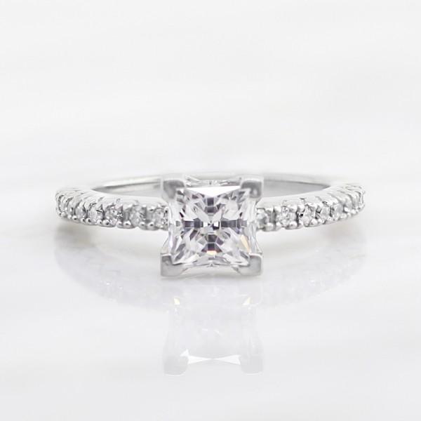 Angelix with 0.99 carat Princess Center - Palladium - Ring Size 5.5