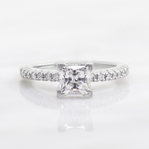 Angelix with 0.99 carat Princess Center - 14k White Gold - Ring Size 5.5-8.5