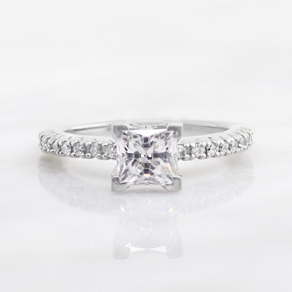 Angelix with 0.99 carat Princess Center - 14k White Gold - Ring Size 6.75