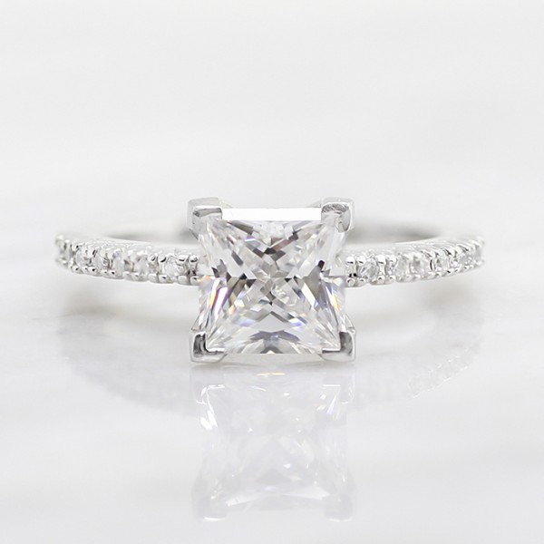 Angelix with 2.01 carat Princess Center - 14k White Gold - Ring Size 7.75-10.5