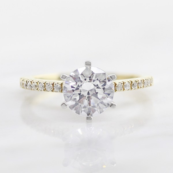 Angelix with 2.04 carat Round Brilliant Center - 14k Yellow Gold - Ring Size 7.0-9.5
