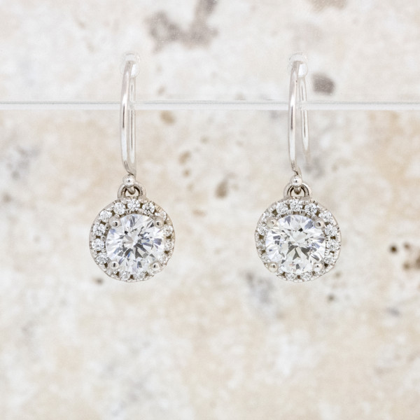 Berlin Drop Earrings with 0.84 carat Round Brilliant Center, 1.98 tcw - 14k White Gold