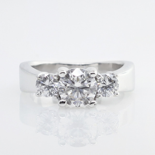 Discontinued Bettie with 1.03 Round Brilliant Center, 1.95 tcw - 14k White Gold - Ring Size 5.0-8.0