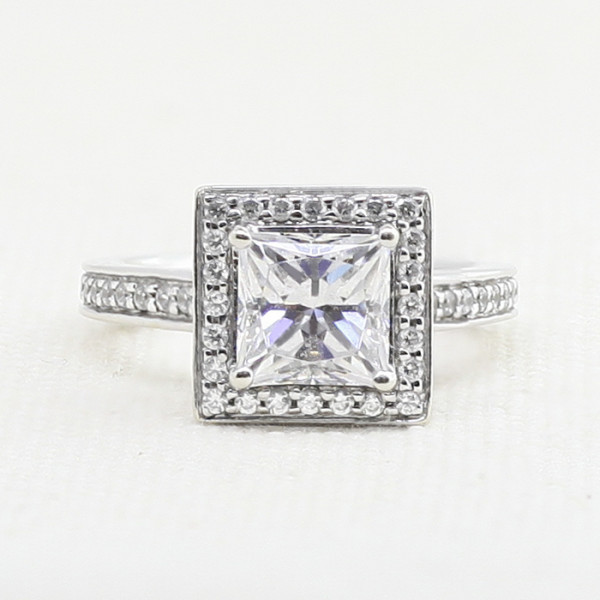 Discontinued Black Magic with 0.99 Carat Princess Center - 14k White Gold - Ring Size 7.5