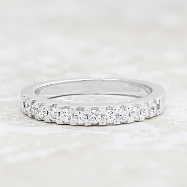 Scallop-Set Band with Round Brilliant Accents  - 14k White Gold - size 8.25 - 10.25