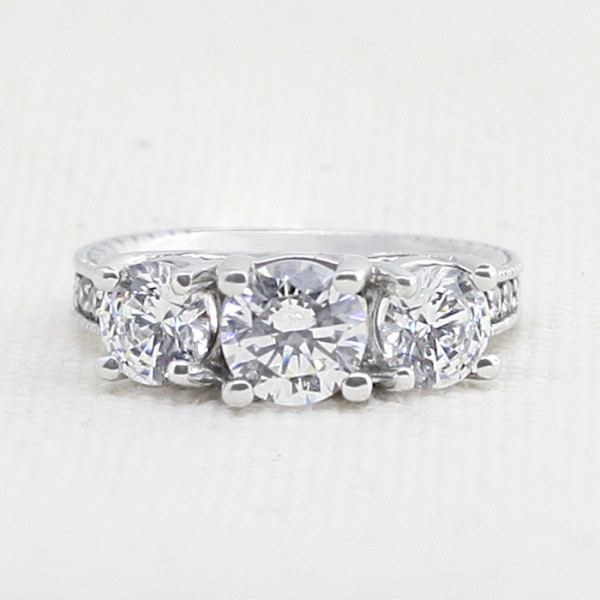 Bravura with 2.04 carat Round Brilliant Center - 14k White Gold - Ring Size 8.75