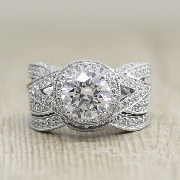 Retired Model Briar Rose with 2.04 carat Round Brilliant Center and One Matching Band - 14k White Gold - Ring Size 6.0-6.5