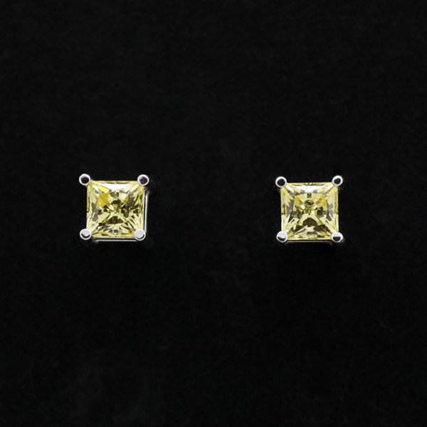 Princess cut Stud Earrings with 0.56 carat Canary Each - 14k White Gold
