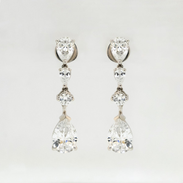 Semi-Custom Carcasonne Earrings with 5.68 Total Carat Weight - Lorian Platinum
