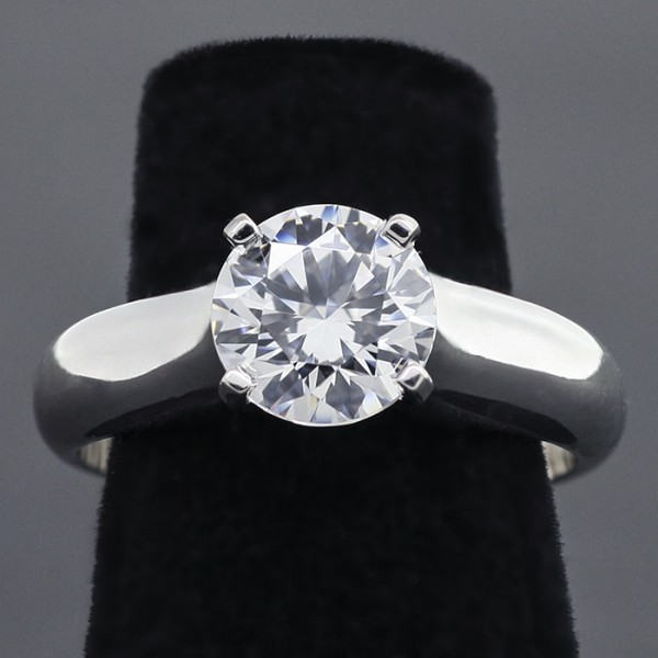 Custom Cathedral-Style Solitaire with 2.04 Round cut Center - 14k White Gold - Ring Size 8.25