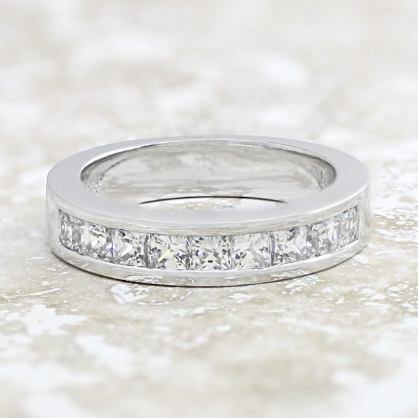 Sleek Channel-Set Band with Princess Cut Stones - 14k White Gold - Ring Size 6.75